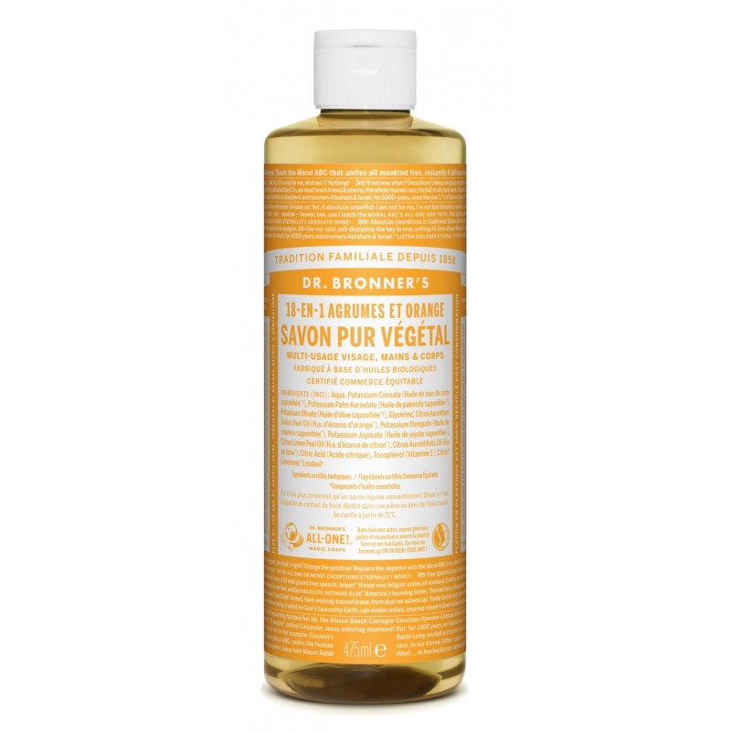 Savon liquide agrumes-orange  Dr Bronner's 473 ml